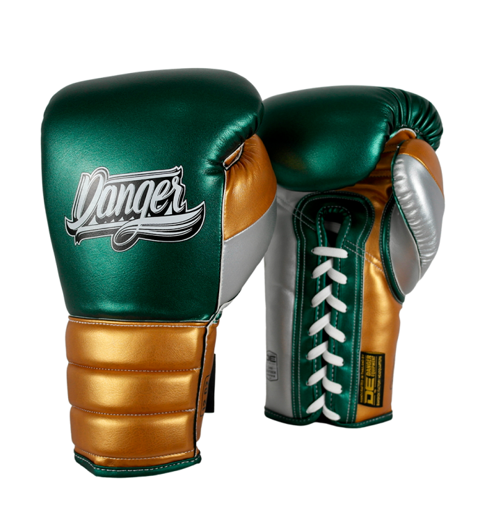 Boxing Gloves Mexican Pride Laces in leather o semileather DEBGMX-002-2.0-LC-SL-10-MT.GRN/MT.GD/MT.SV